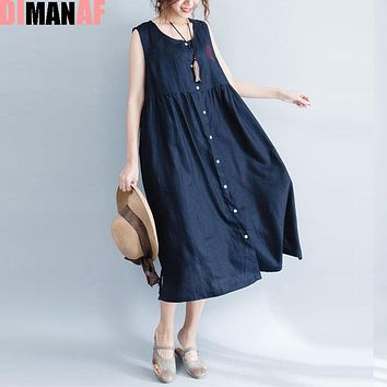 DIMANAF Summer Style Dress Plus Size Women Linen Sundress Solid Sleeveless Vest Cardigan Female Sexy Red Long  New Beach Dresses