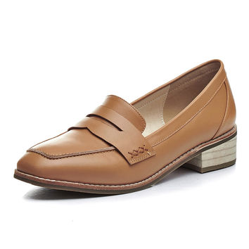 Genuine Leather Moccasin Oxford Flat Shoes