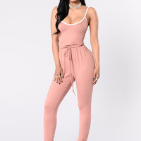 Kick Push Jumpsuit - Dusty Rose/White