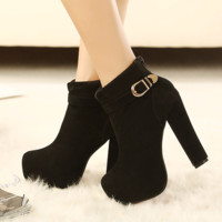 Fashionable Black Buckle Bootie Ankle Heel Boots