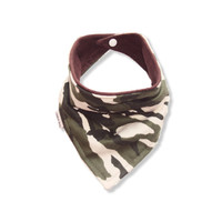Baby Bandana Bib Scarf in Camo Flannel with Snap Closure for Boy or Girl