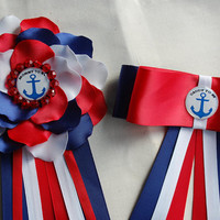 Nautical Baby Shower Pin, Baby Boy Shower Corsage, Mommy to Be Corsage,navy red white Baby Shower , Daddy to be corsage  , Daddy to be pin