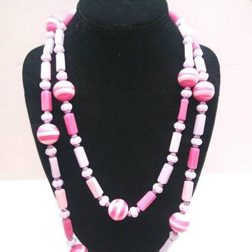 ON SALE Pink Beaded Long Necklace Vintage Flapper 1960's Mad Men Mod Jewelry Chunky Wide Retro Rockabilly Purple Accessories