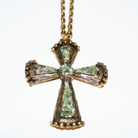 Vintage Gold Cross with Jade Pieces