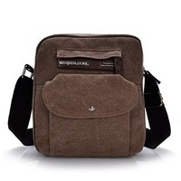 Vere Gloria Small Canvas Shoulder Bag for Men Women Travel Hiking Daypack Cross Body Unisex Vintage Vertical Section
