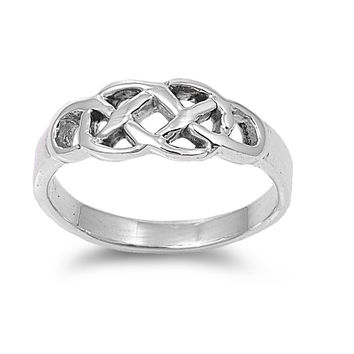925 Sterling Silver Wicca Pagan Weaved Earth Symbol 7MM Ring