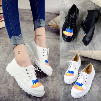 White Casual Vintage Causal Cats Shoes = 4805000900