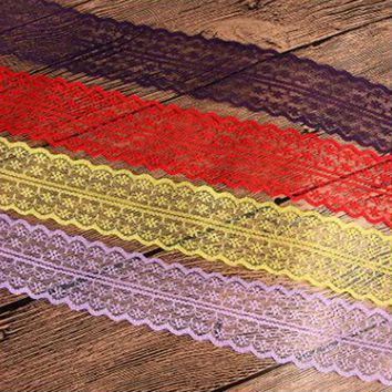 10yard/lot Hot Sale african ribbon lace 45mm wide colorful lace wedding party decoration 13 color bridal fabric Home Decoration