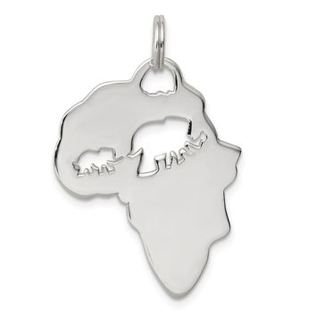 925 Sterling Silver Africa Continent with Elephant Cutout Shaped Pendant