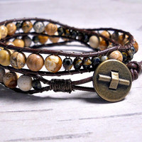 Jasper Bead Double Wrap Bracelet, Leather Wrap Bracelet, Wrap Around