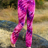 Tie Dye Cotton Candy Pink Yoga Dance Bohemian Pant - Surfer Girl Hippie Tights