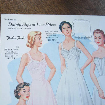 Midcentury Fashion Illustrations/Sample Sheets w/ Swatches; Vintage Fashion Frocks Slip, Nylon Hose & Fit/Flare Dress Sales Sheets