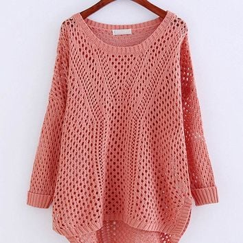Long Sleeve Crochet Hollow Pure Color Sweaters For Women