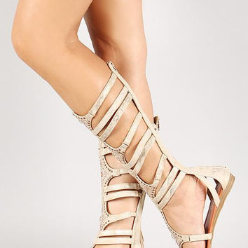 Liliana Jeweled Snake Zip Up Strappy Gladiator Flat Sandal