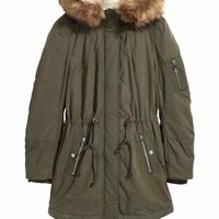 Pile-lined parka - Dark khaki green - Ladies | H&M CA