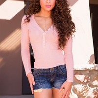 Amalia Button Up Top - Blush