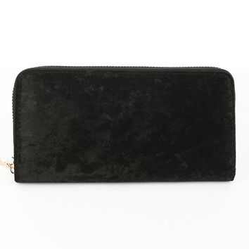Black Velvet Finish Clutch Wallet Bag Accessory