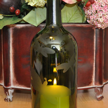 Dragonfly Etched Wine Bottle Hurricane Candle Lamp by TipsyGLOWs
