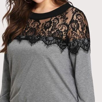 Cold Spring Lace Colorblock Sweatshirt