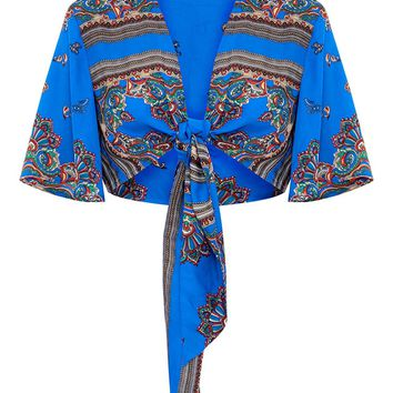 Blue Silky Paisley Flare Sleeve Tie Front Blouse