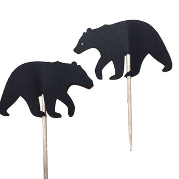 Bear Cupcake Toppers  - Set of 12 - Wilderness theme - food Picks - Party Decor - Gender reveal - Lumberjack party - Birthday Decor
