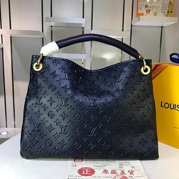 DCCK 969 Louis vuitton Litchi embossed handbag 42-32-16cm Navy Blue
