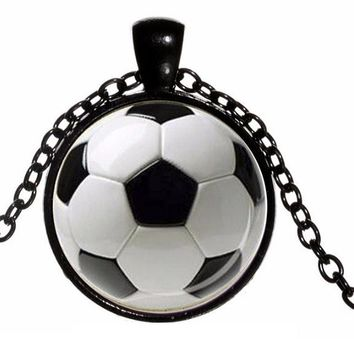 Fashion Football Picture Glass Pendant Necklace