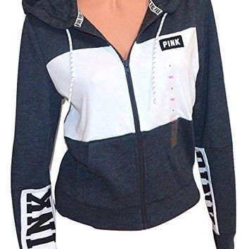 VICTORIA'S SECRET Pink Colorblock Perfect Full Zip Hoodie Color Gray/White NWT (XSmall)
