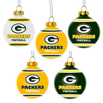 Green Bay Packers  Official NFL 5 Pack Shatterproof Ball Ornament