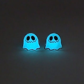 Glowing Mini Earrings - Cute Ghost - Glow in the Dark Earrings - Glowing Ghost - Scary Ghost - Scary Earrings - Ghost Jewelry - Ghost Cute