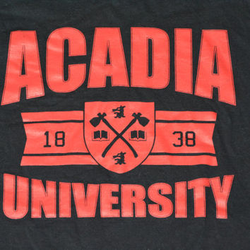 Vintage 90s Acadia University T-shirt - Retro Black Cotton College Tee Size S Small