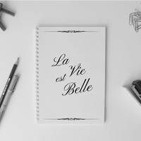 French quote Notebook A5 Simple Diary Planner Sketchbook Girlfriend gift Paris France Travel Life