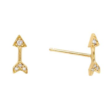 Arrow Stud Earring 14K