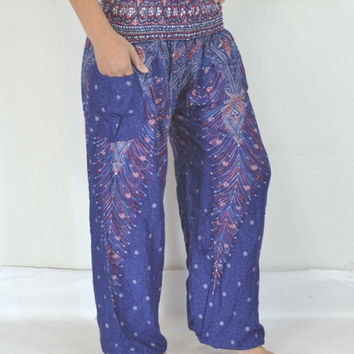 Thai Yoga Blue Flowers stripes Pants/Harem/ Boho Pants/Print flowers design/elastic waist/Comfortable wear fit most/Long dress pants.