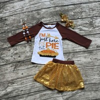 """4PC Little Girl's Outfit Perfect for Thanksgiving Day """"I'm just here for the pie"""" Gold Sequins Matching Necklace and Headband"""