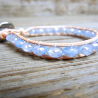 Beaded Leather Single Wrap Stackable Bracelet with Light Blue Periwinkle Crystal Czech Glass Beads on Natural Tan Leather Summer Beach