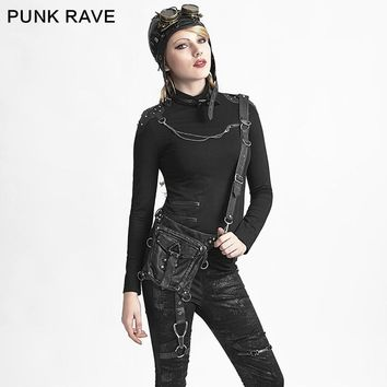 PUNK RAVE Steampunk Women Leather Small Waist Belt Bags Rock Motorcycle Messenger Shoulder Cross Body Small Waist Drop Leg Pack