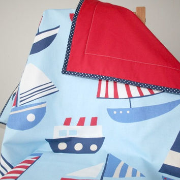 Nautical Nursery Bedding, Baby Boy Quilt, Sail Boat Crib Quilt, Baby Boy Bedding, Blue Toddler Blanket, Baby Cot Quilt,