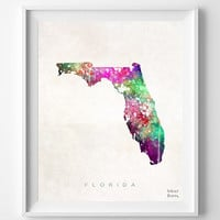 Florida Watercolor, Map, Home Town, Poster, Art, USA, States, America, Wall Decor, Painting, silhouette, state love [NO 326]