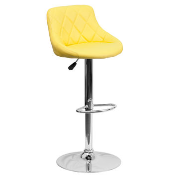 Mid-Back Tufted Diamond Bucket Seat Home Office Kitchen Bar Stools Chairs 6-Colors #82028A (Yellow)