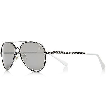 River Island Boys black geometric print sunglasses