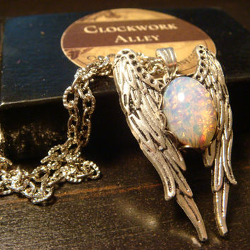 Angel Wings with Fire Opal Necklace in Antique Silver (1742)