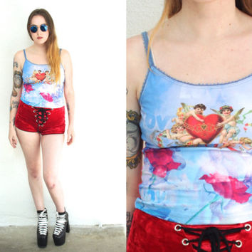Vintage 90s LOVE Tie Dye Collage Floral Baroque Cropped Tank Top // Blue Red Multi // Hipster Pastel Grunge Goth // XS / Small / Medium