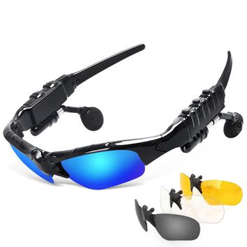 Great Gift For Anyone at $18.99 these Sunglasses are a Bluetooth Headset as well as Outdoor Glasses Earbuds Music with Mic Stereo Wireless Headphone For iPhone Samsung Huawei