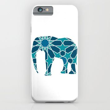 ELEPHANT SILHOUETTE WITH PATTERN iPhone & iPod Case by deificus Art