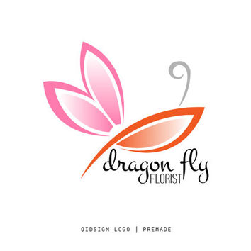 Custom Logo, Premade, Florist Logo, Dragon Fly, Pink and Red Logo