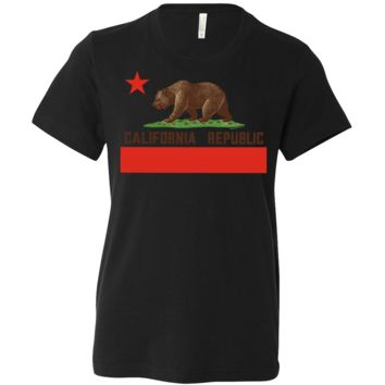 Don Pimentel California Republic Bear Flag Brown Text Asst Colors Youth T-Shirt/tee