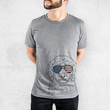 Teddy the Labradoodle - American Flag Aviators - Tri-Blend Unisex Crew Shirt