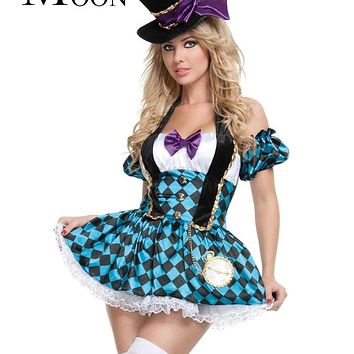 MOONIGHT Halloween Alice in Wonderland Costumes Women Magician Cosplay Princess Queen Magic Cosplay Female Coat Macchar Cosplay Catalogue