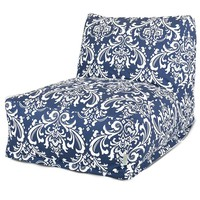 Majestic Home Goods French Quarter Indoor Outdoor Beanbag Chair Lounger (Blue)